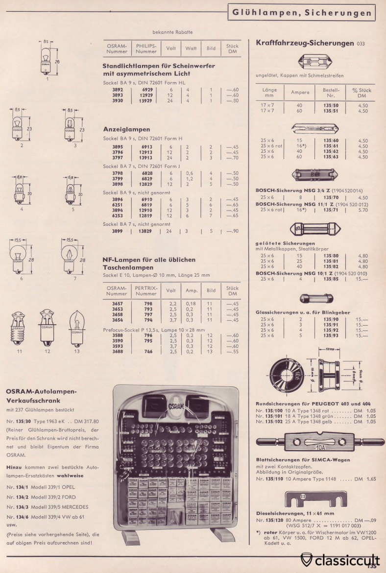 Osram and Philips Bulbs for Instrument Dash Lights and a cool vintage Osram sale cabinet for VW Dealers, catalog 1965, Page 135