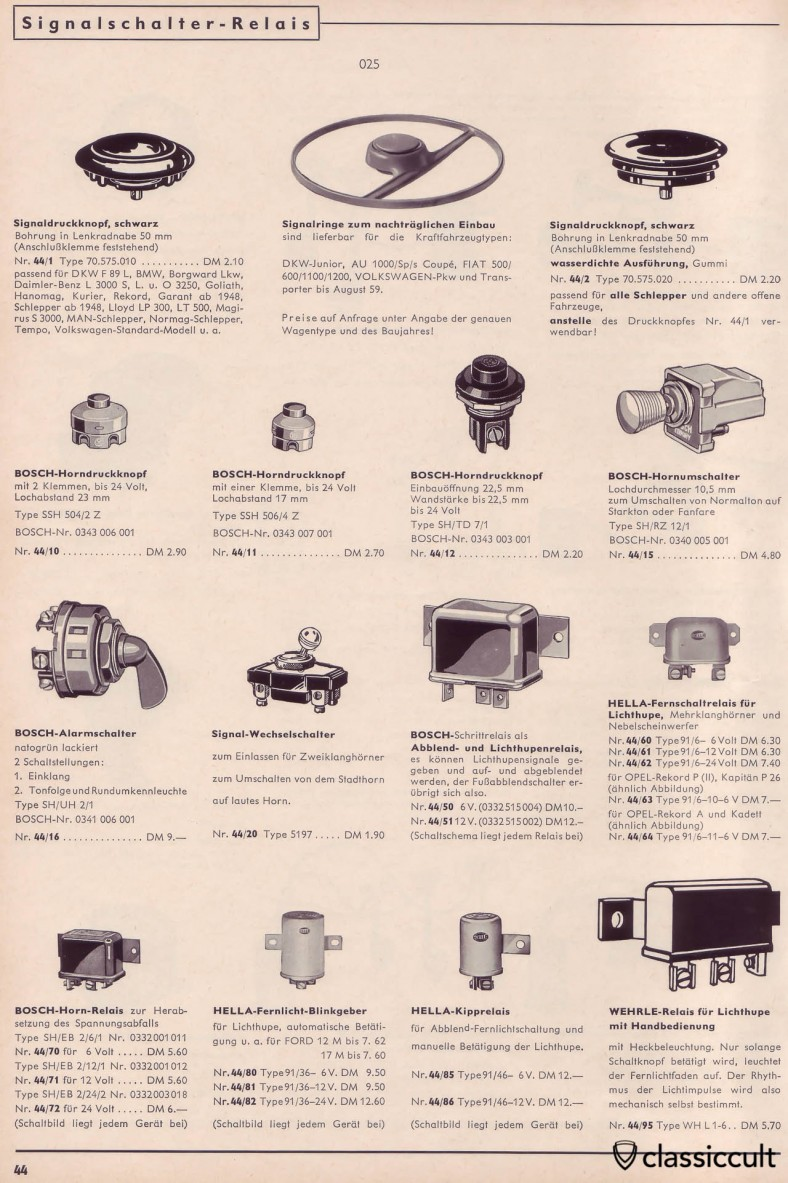 Vintage Bosch fanfare horn switches and relays, e.g. to switch from normal horn to fanfare system. German parts catalog 1965.