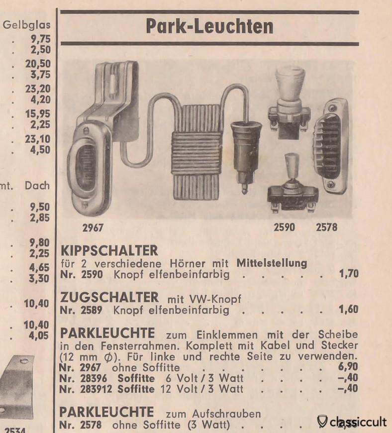 Vintage feux de stationnement allemand avec interrupteur, source: accessoires automobiles 1964-1965