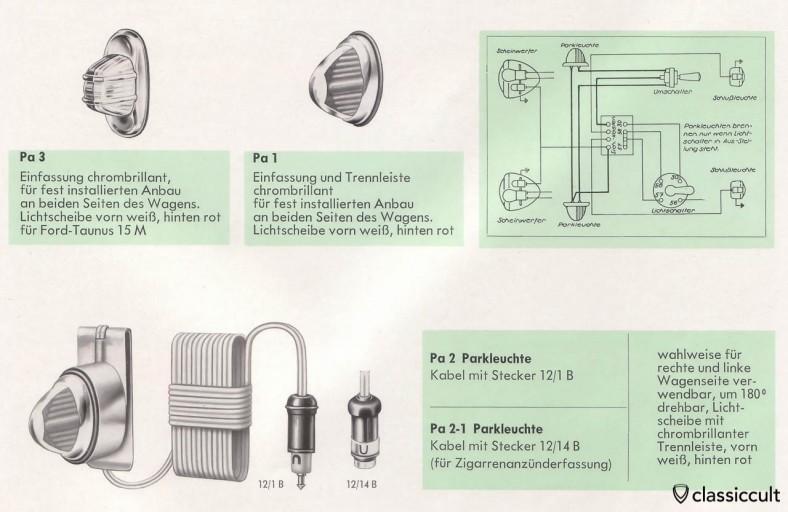 Vintage Hella parking lights and german wiring instruction, source: Hella catalog
