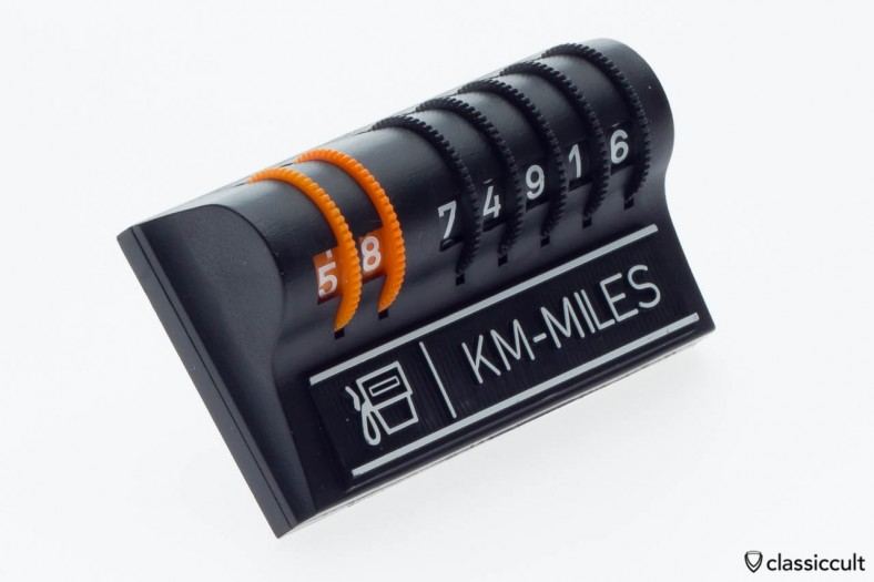 magnetic KM MILES dash counter