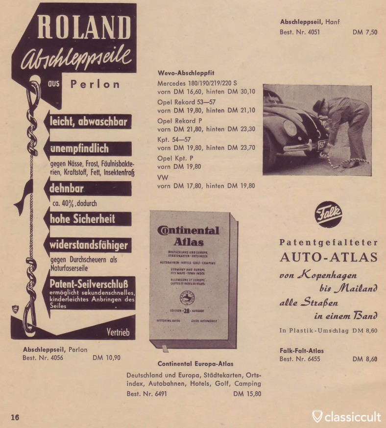 Vintage Perlon tow ropes available in Germany in the 50s. Scanned from a German automobile accessories catalog. The advertising shooting star was a VW split.