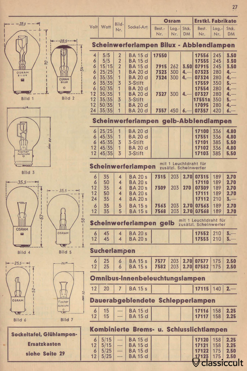 Osram and Fischer Bulbs for Headlight, Search Light and Yellow Headlight, Catalog 1950 Page 27