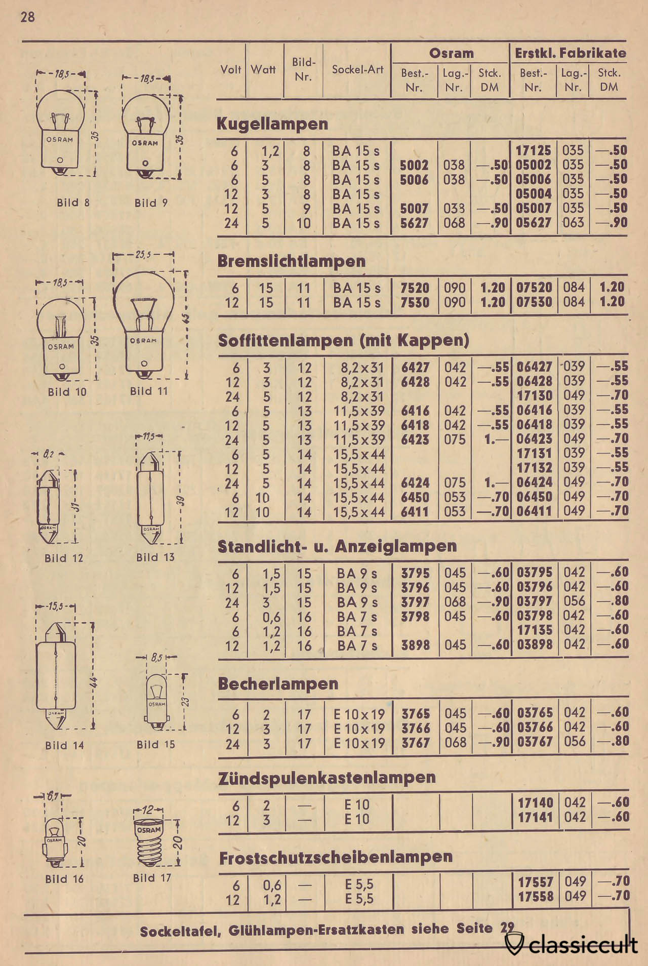 Osram Bulbs for Stop, Parking, Interior Dome and Semaphore Lights, Catalog 1950 Page 28
