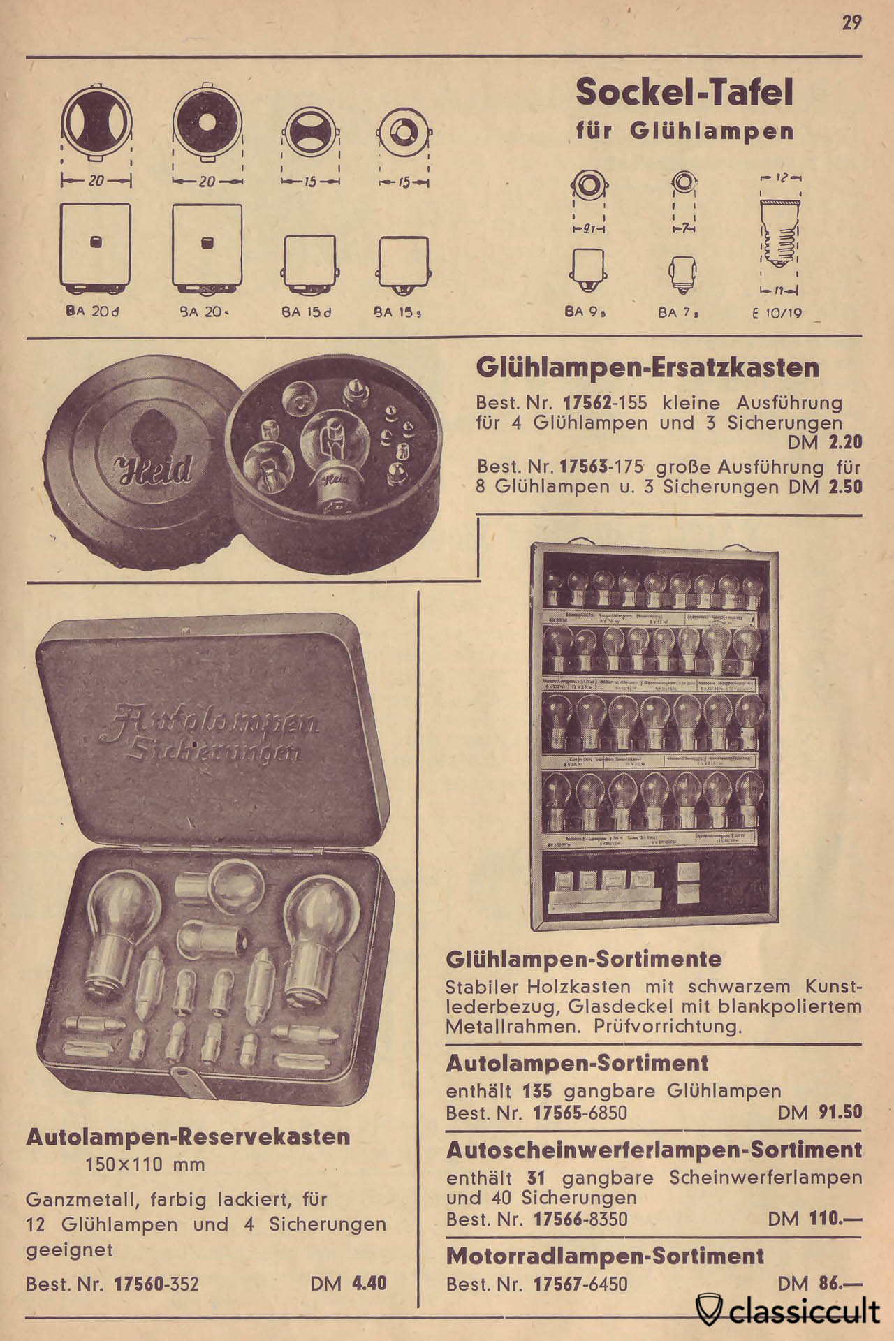 Osram Bulb socket information, Heid Autolampen Bulb replacement box, Catalog 1950 Page 29