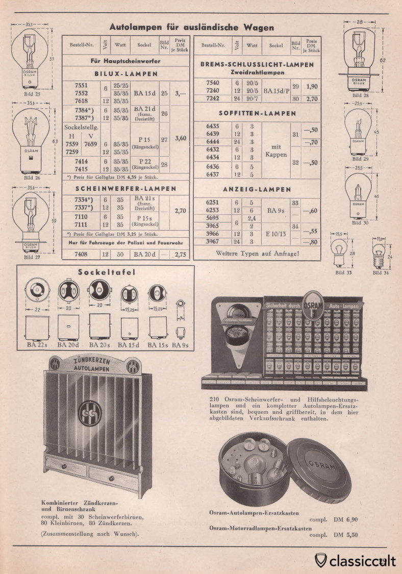 Osram Bulbs for foreign (not german) cars, Osram bulb shop display for VW accessory dealers, Osram glovebox Bulb replacement box, Catalog 1955 Page 29