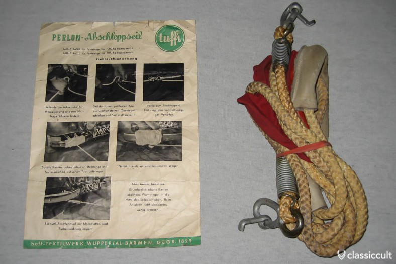 Perlon tow rope. Made in Germany about 50 years ago.