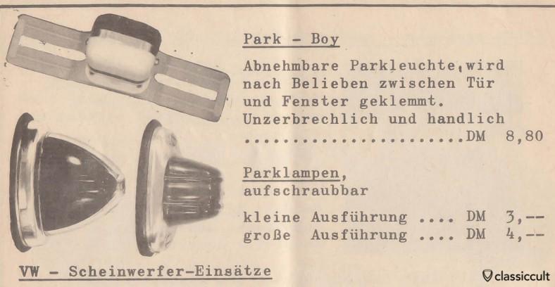 """Vintage VW feux de stationnement amovible """"PARK-BOY"""", source: accessoires Volkswagen 1957"""