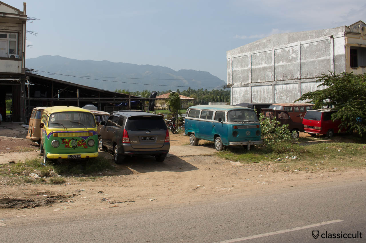 At the Volkswagen Garage of RMG Rendezvous Mobil Group in Banda Aceh Besar are many vintage VWs.