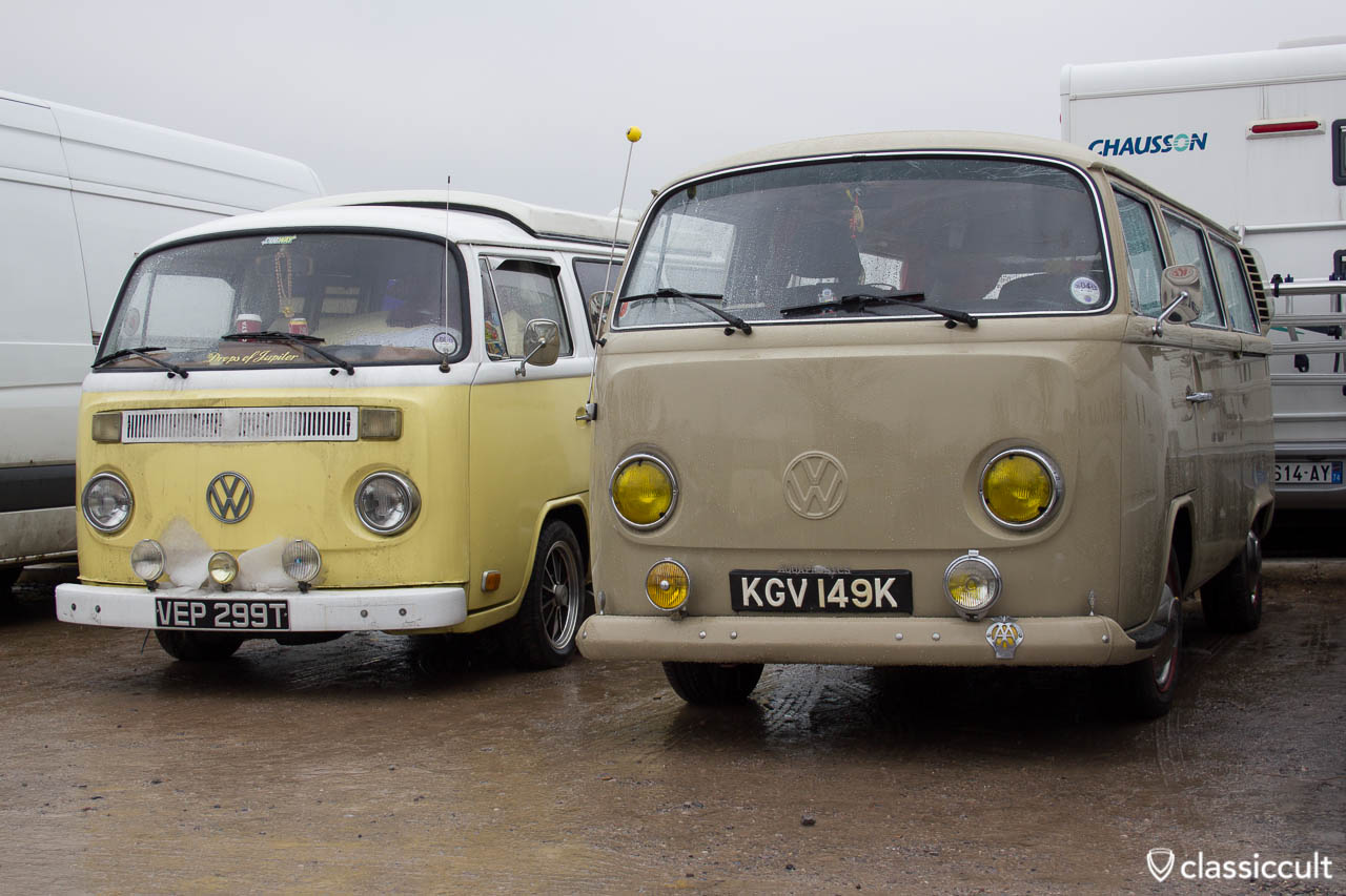 VW T2 Bus with fog lights Volksworld car park