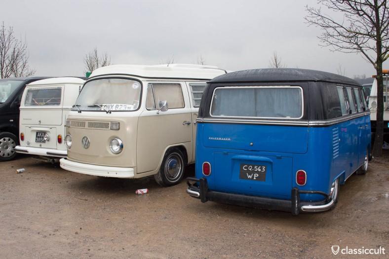 Buses at Sandown Park Esher London Volksworld car park