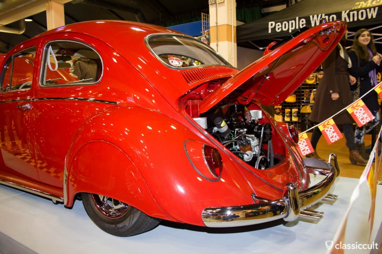 ruby red Beetle with fender skirts