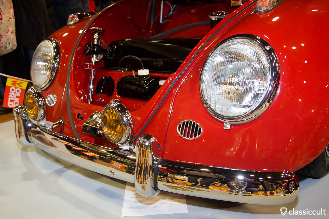 ruby red Beetle with fog lights