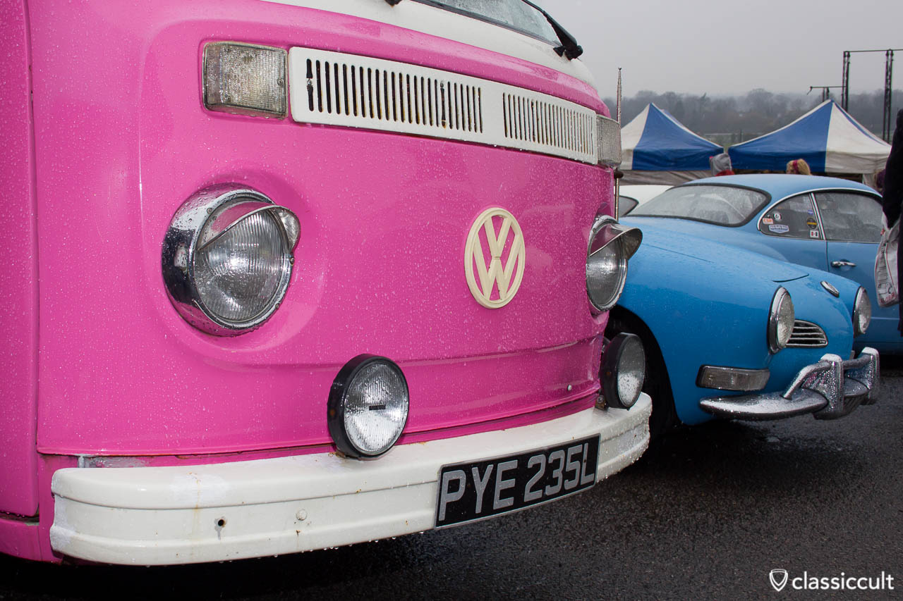 pink T2 Bus with foglights