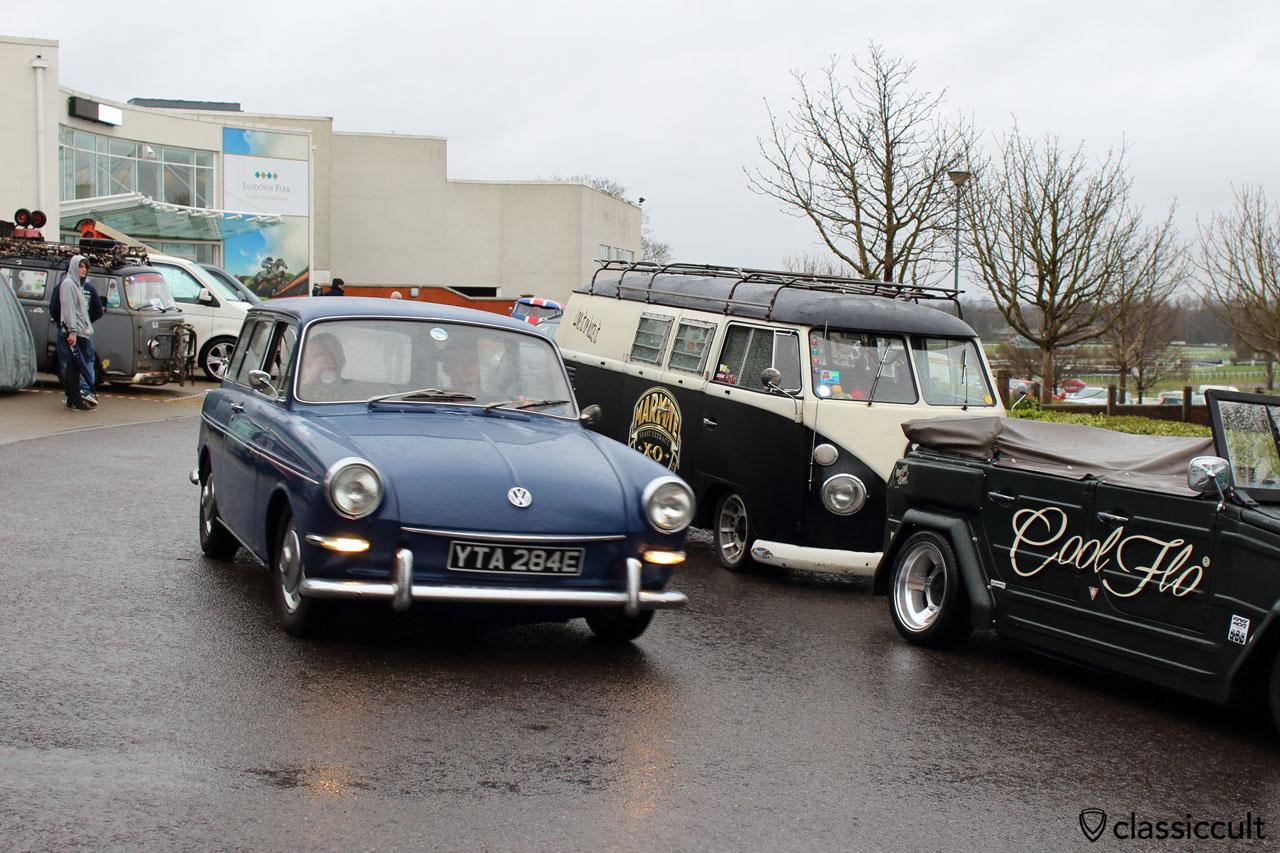 blue VW Type 3 squareback cruising