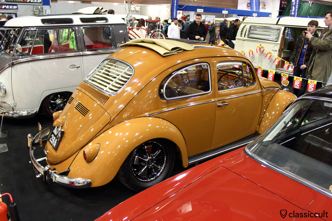 Michael Burns 1963 UK RHD deluxe VW Beetle, lowered, with fuchs wheels, stock 1200cc, painted in Porsche sepia brown