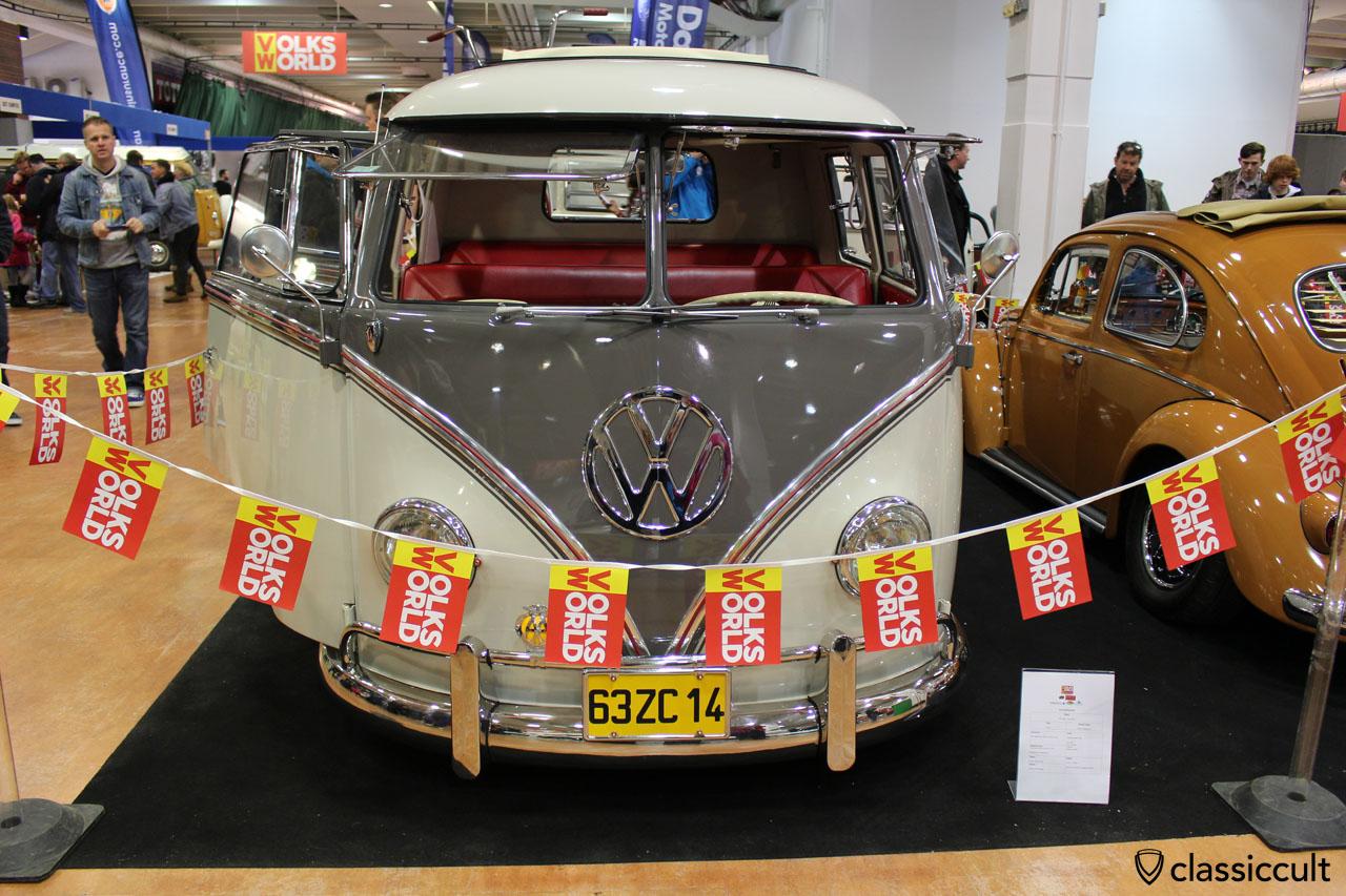 1963 VW T1 Split Screen Crew Cab Doka Bus, front nose view