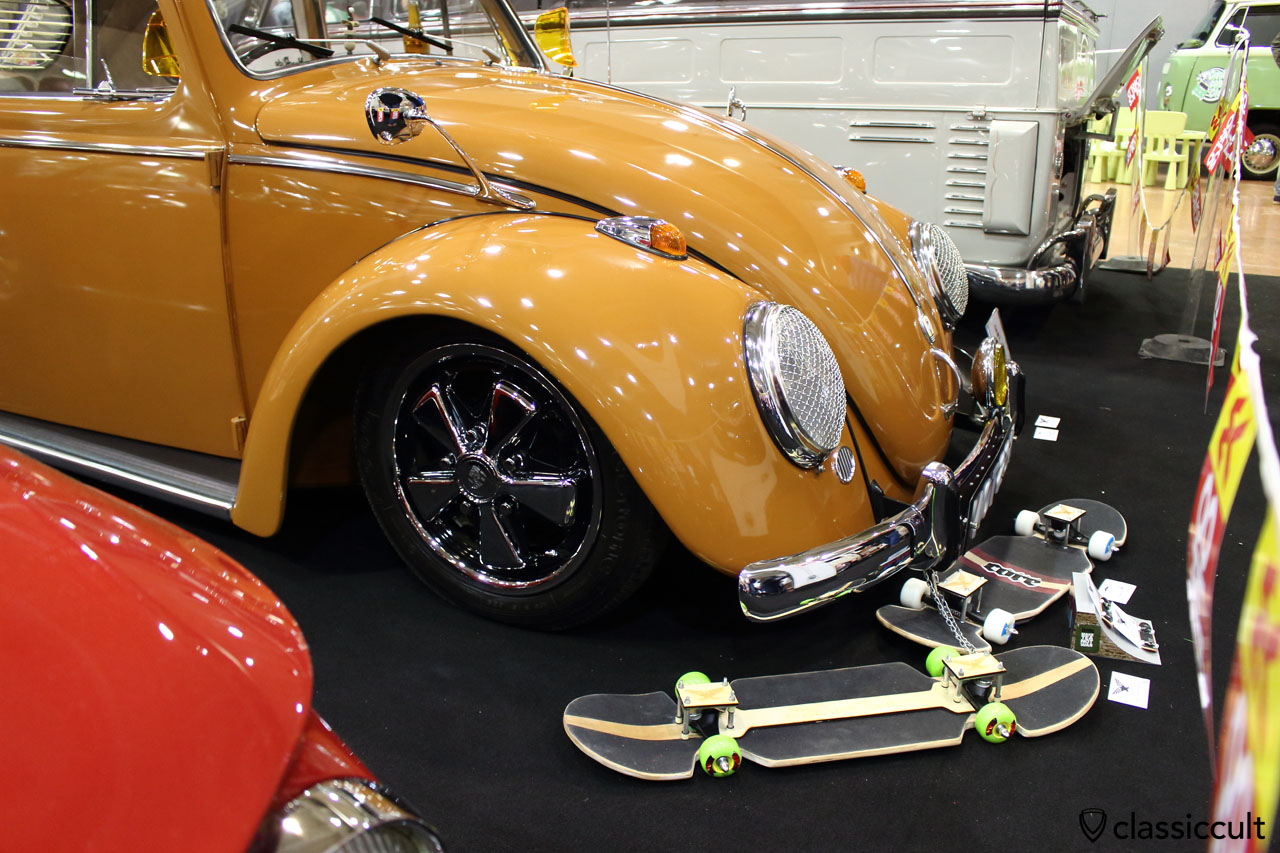 1963 Ragtop VW Beetle, side view with stone guard headlight grill and Albert mirror
