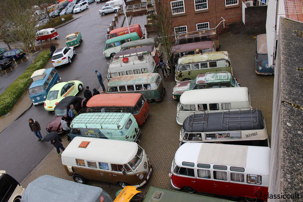 vintage VW parking outside near entrance