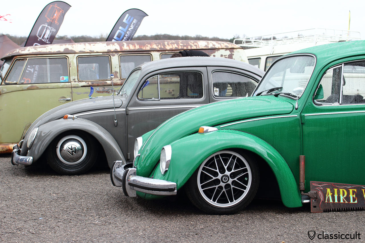lowered Beetle with Cosmic wheels and bumper guards