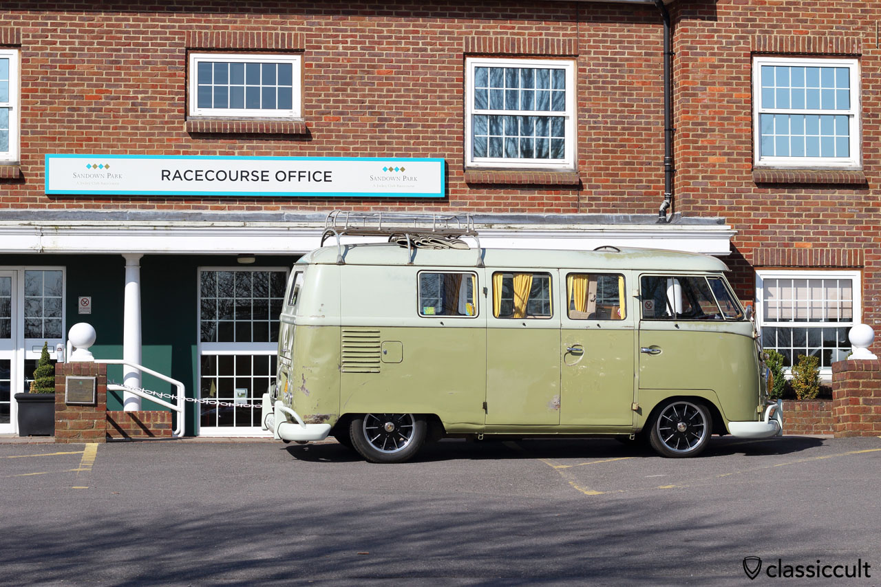 VW Splitty Sunroof Bus at Sandown Park Racecourse Office