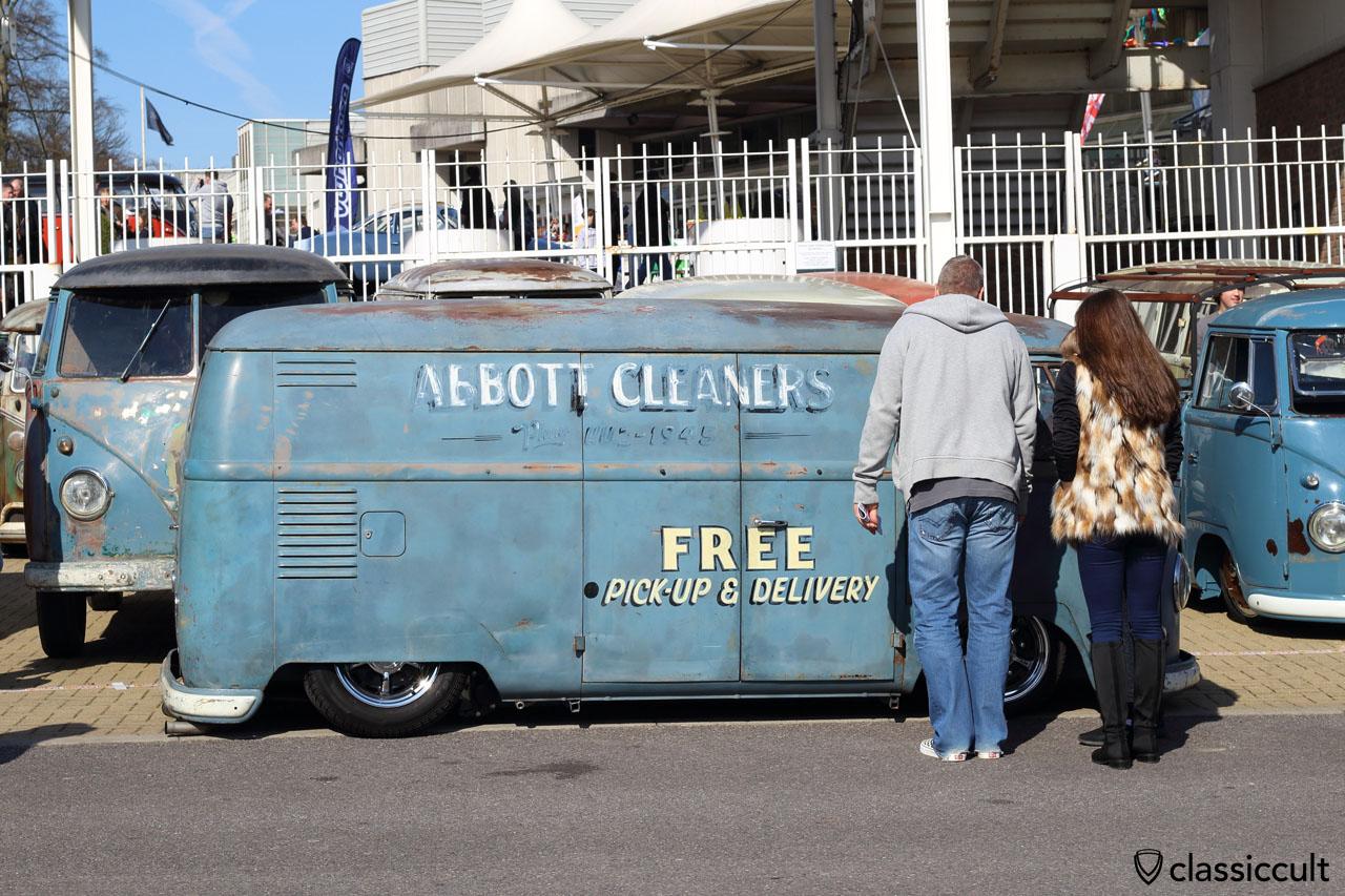 lowered 1956 Calif ABBOTT CLEANERS Panel Van