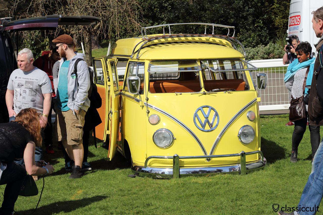 low VW Split Camper in yellow