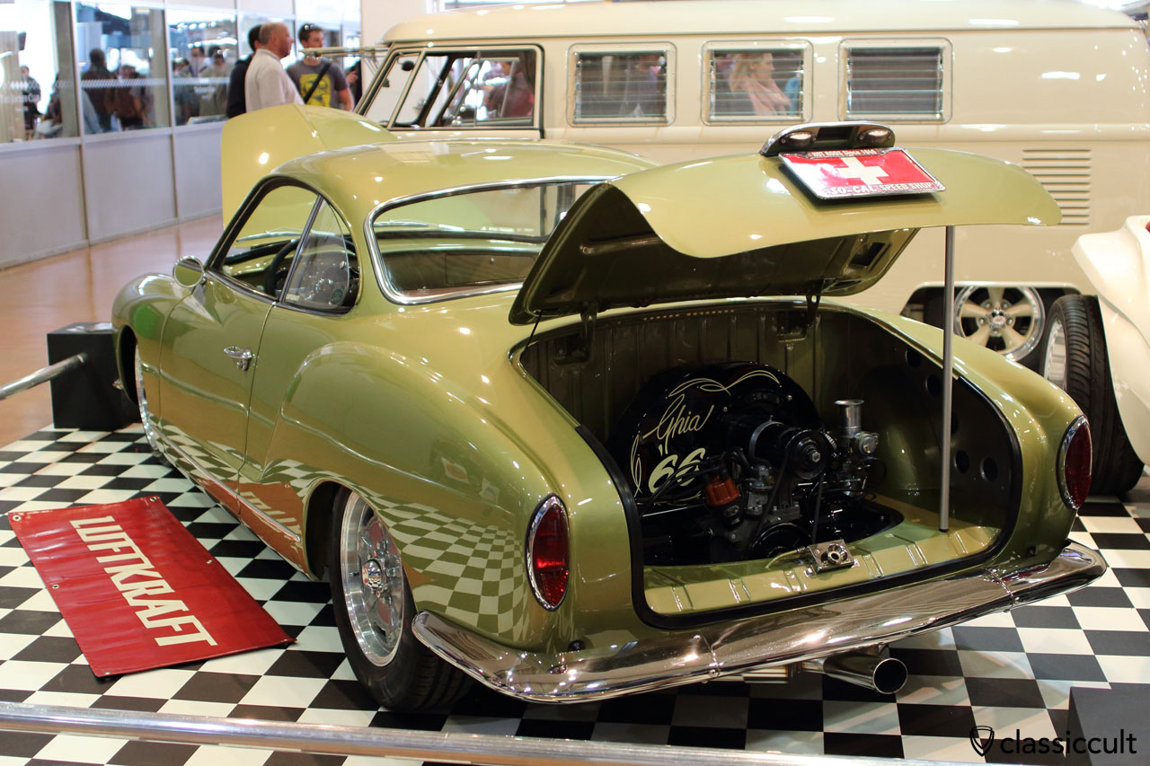 1966 VW Karmann Ghia Type 14 with 5.5 x 15 Racemaster wheels, L412 diamond green colour, Christoph Schiffer