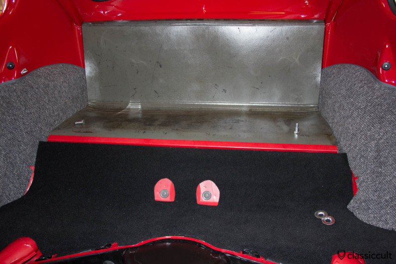 VW 1200 A luggage area with cardboard. Only the Standard VW Beetle has cardboard in the luggage area. The Export Beetle has luxury carpet.