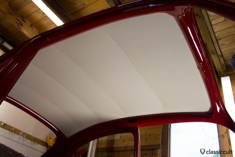 VW Beetle restoration headliner. I bought the headliner, felt, spray adhesive and carpet for my VW 1200 A from Peter Theobold aka Monsterbacke, see decohaus.de. Peter can give you advice how to install the headliner. Also the necessary headliner installation tool was included. I would give 100 of 100 points for the Headliner from Monsterbacke.
