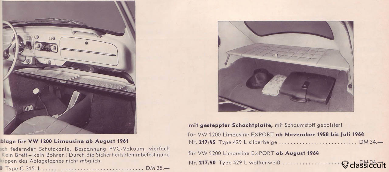 KAMEI plastic parcel tray in VW 1200 1961
