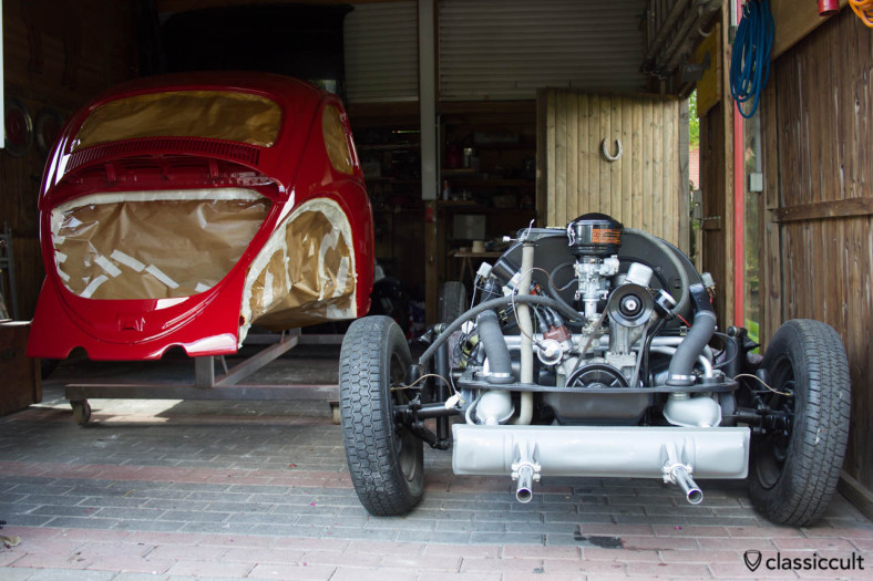 VW 1200A body fresh painted and back home.