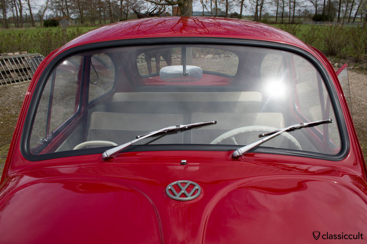 VW 1200a Bug aluminum L93 wiper arms and steel grey L328 hood emblem.