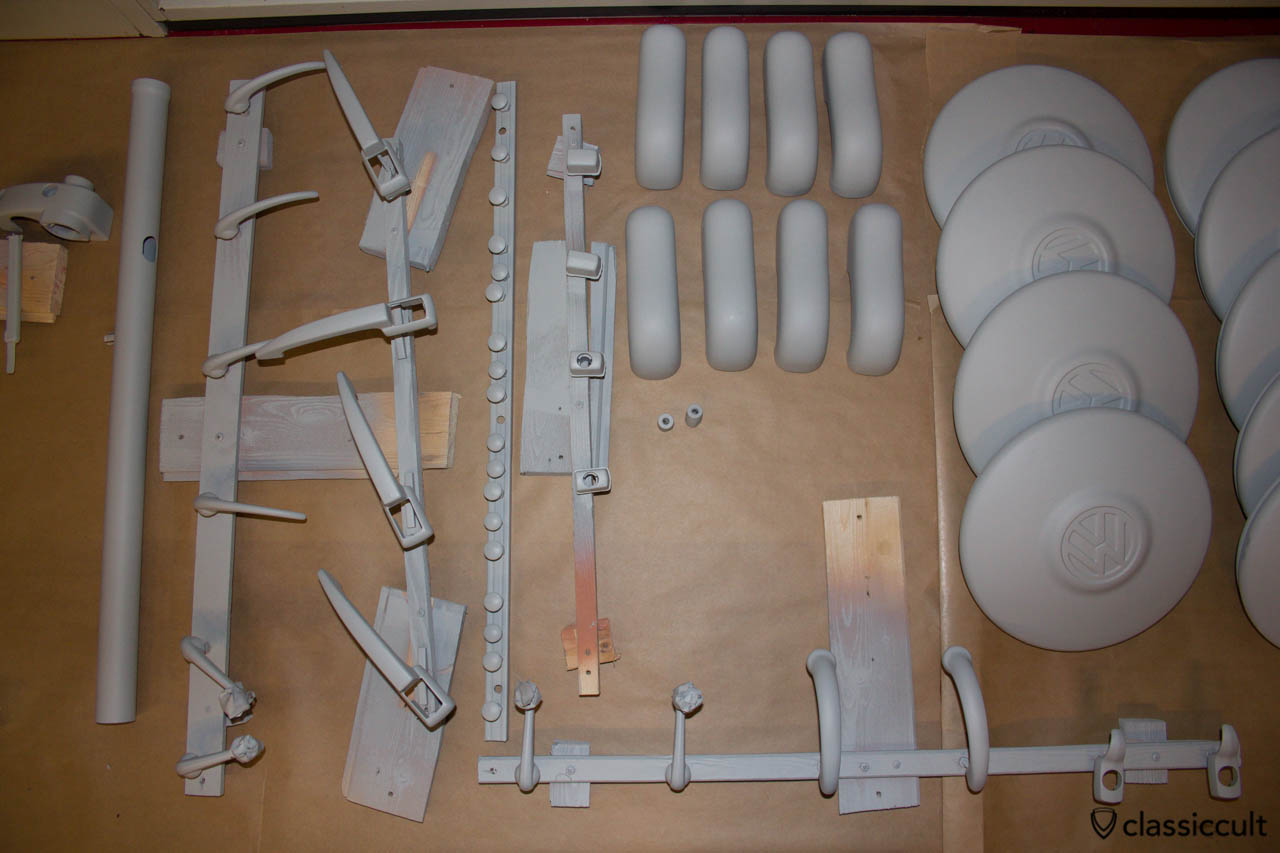 VW 1200A parts with epoxy primer and filler. These parts will be painted in steel grey.