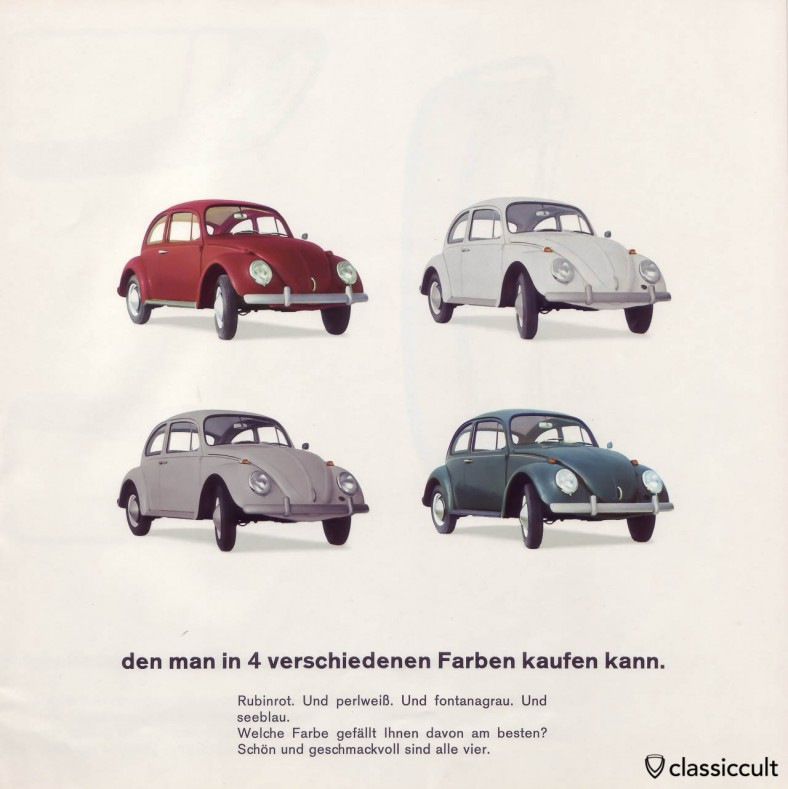 The VW 1200A 1965 Standard Beetle was available in L456 ruby red, L87 pearl white, L595 fontana grey and L360 sea blue. VW 1200 A Brochure 01-1965 Page 9.