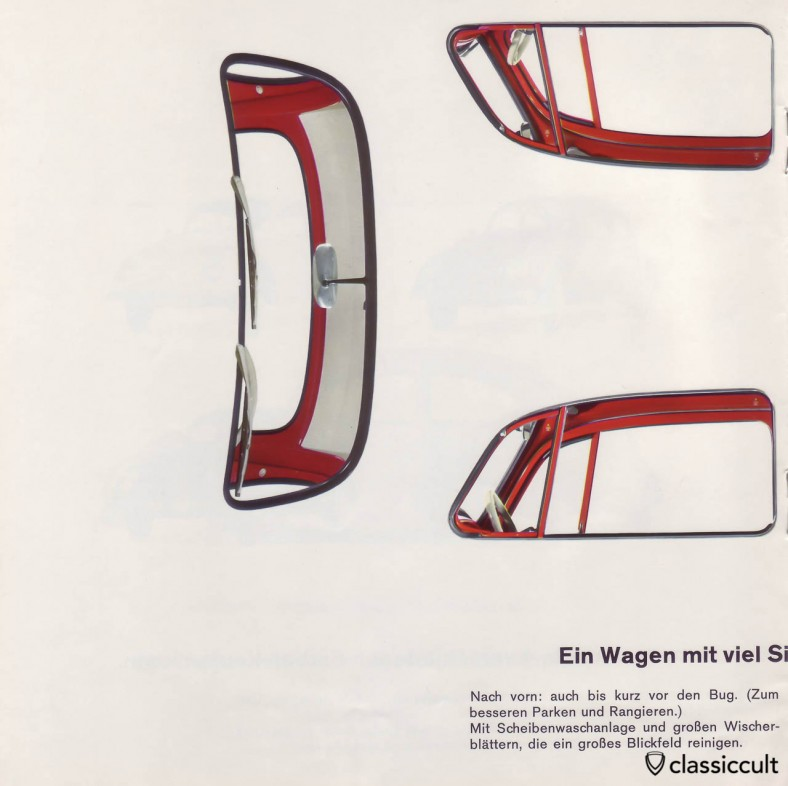 The 1200A beetle has a painted vent window. VW 1200 A Brochure 01-1965 Page 10.
