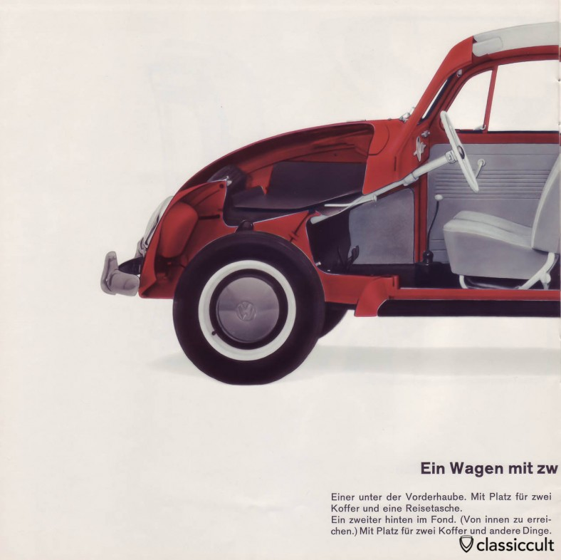 The 1200A beetle has two boots. VW 1200 A Brochure 01-1965 Page 12.