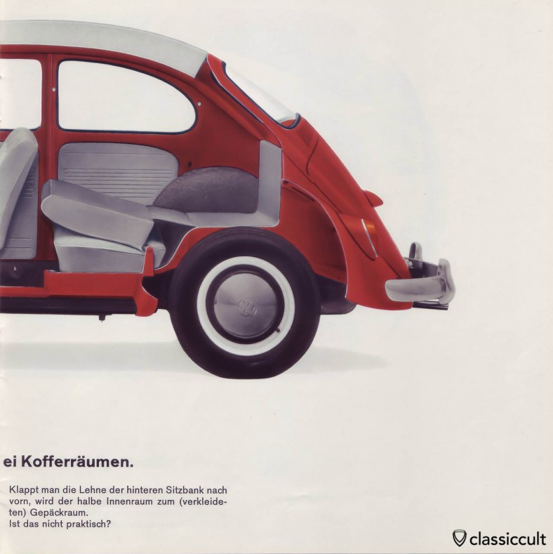 The 1200A has a very basic roof lining and a cardboard protection of the luggage area. VW 1200 A Brochure 01-1965 Page 13.