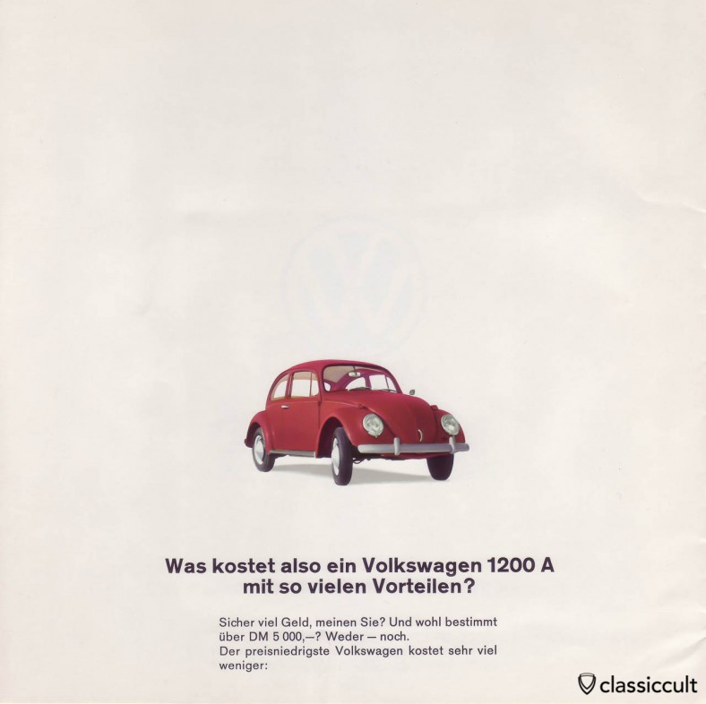 The 1200 A Volkswagen cost less then 5000 DM. VW 1200 A Brochure 01-1965 Page 18.