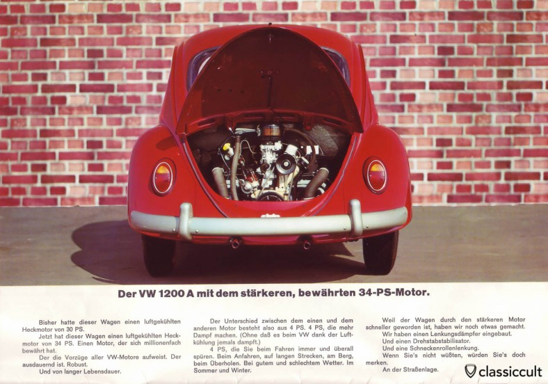 VW Beetle 1200A now with 34HP motor. Before August 1965 the 1200A had only 30HP. VW 1200 A Brochure 08-1965 Page 1.