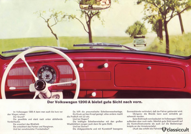 The VW Beetle 1200A has a simple dashboard with three spoke Petri steering wheel and one speed wiper switch. VW 1200 A Brochure 08-1965 Page 10.