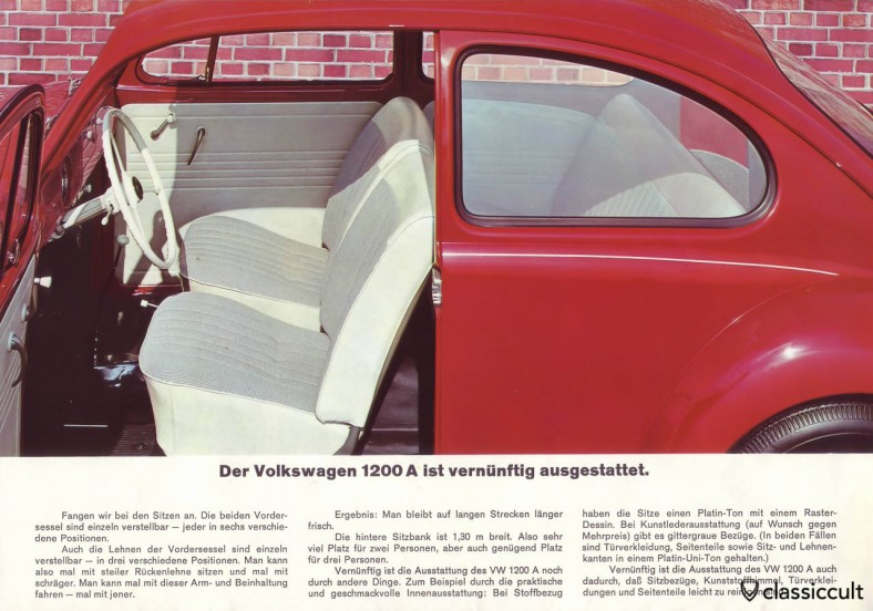 The VW 1200A has painted L328 interior handles. VW 1200 A Brochure 08-1965 Page 11.