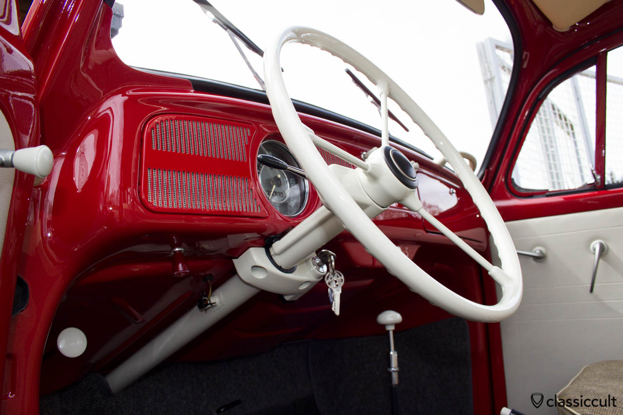 The VW 1200A Standard has no door contact switch for the dome light. The VW 88 emergency switch under the dashboard is not original but necessary. My Beetle has a 1965 T1 Split Bus indicator switch with high beam function which was installed for the first owner.