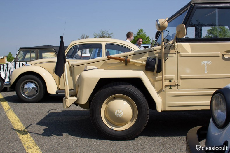 VW 181 desert operational vehicle with blade holder, flag and vintage working headlights.