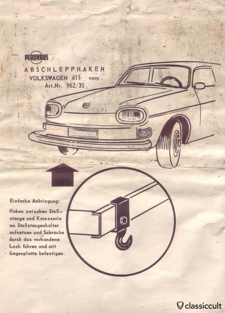 Volkswagen 411 Perohaus Tow Hook mounting instruction