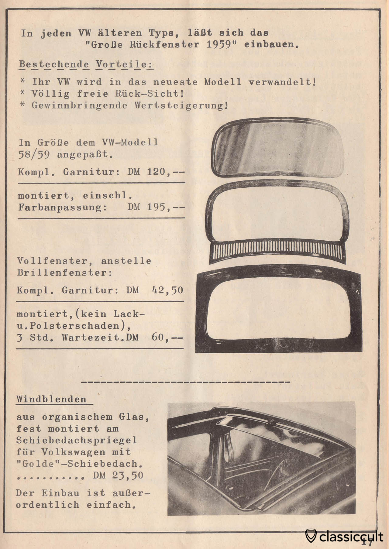 Vw Accessories 1957 1960 Classiccult