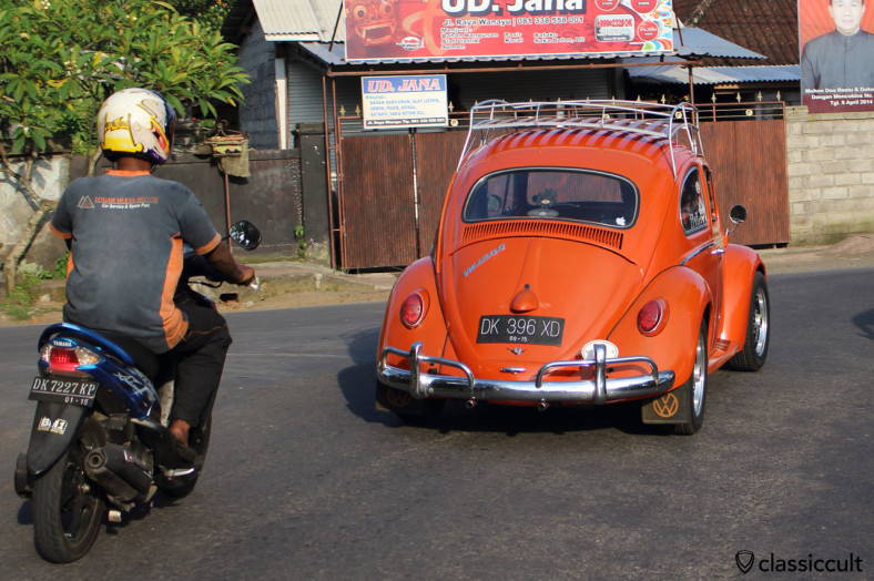 VW 1200 Beetle cruising at Bali, Indonesia, February 25, 2014