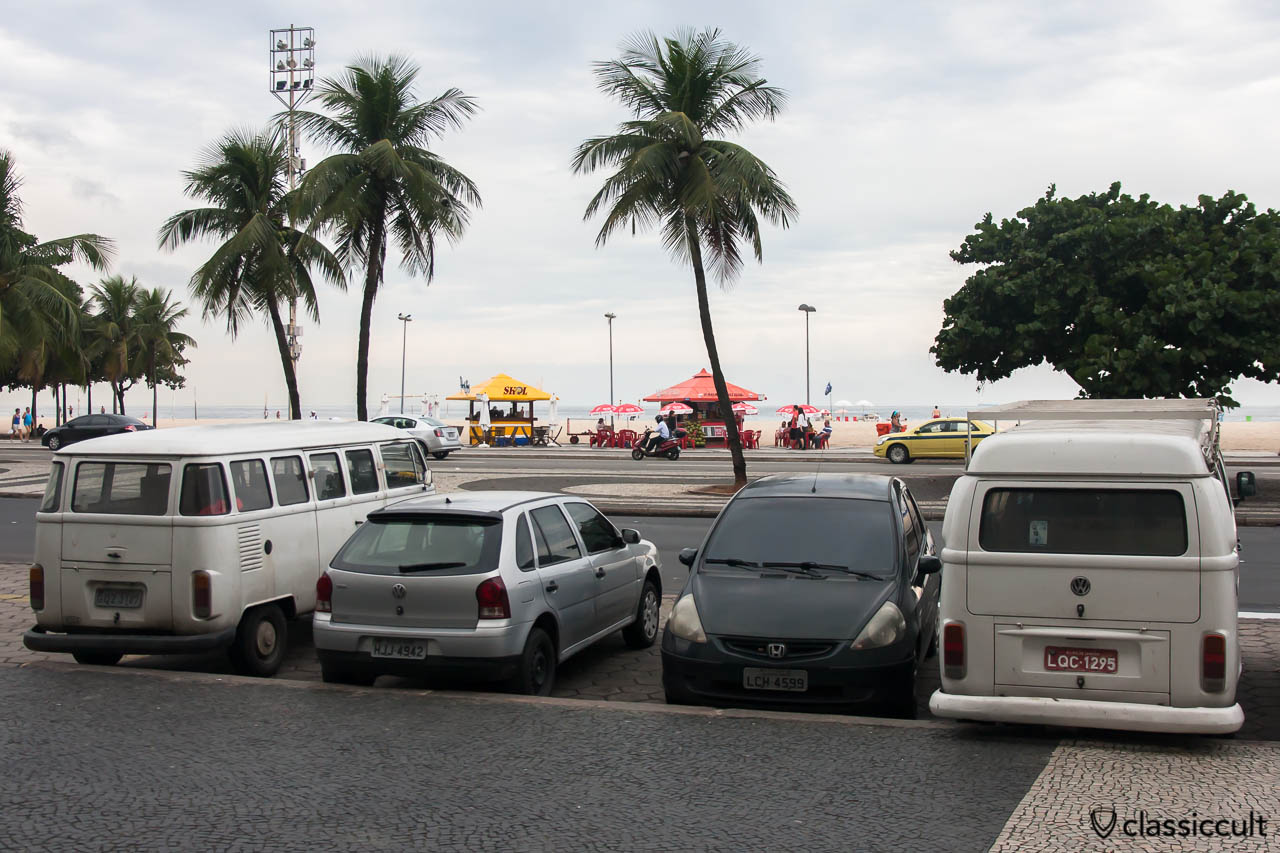 VW Bay Split Bus and VW Kombi, Copacabana Beach, Rio, Brazil, May 23, 2013