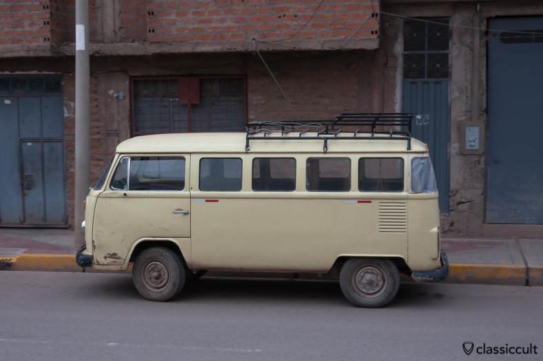 VW Bay Split Hybrid Bus seen from Andean Explorer, Peru, May 15, 2013
