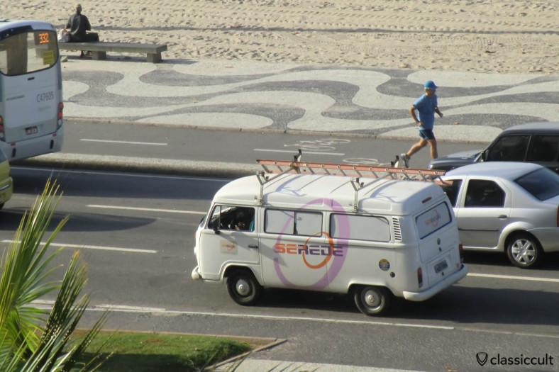 VW Bay Window Bus on Avenida Atlantica, Rio, Copacabana, Brazil, May 22, 2013